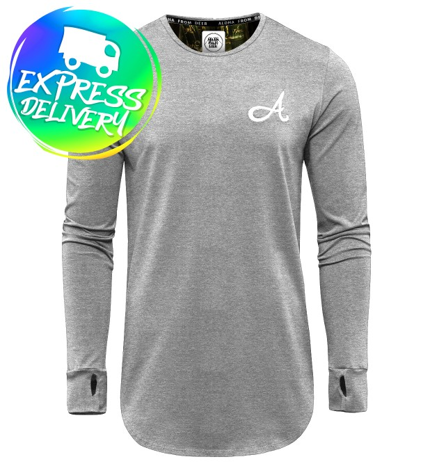 Cotton Long Sleeve Heather Grey Thumbnail 1