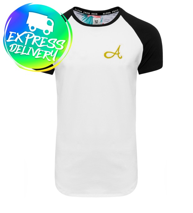 Cotton Raglan T-Shirt White Gold Thumbnail 1