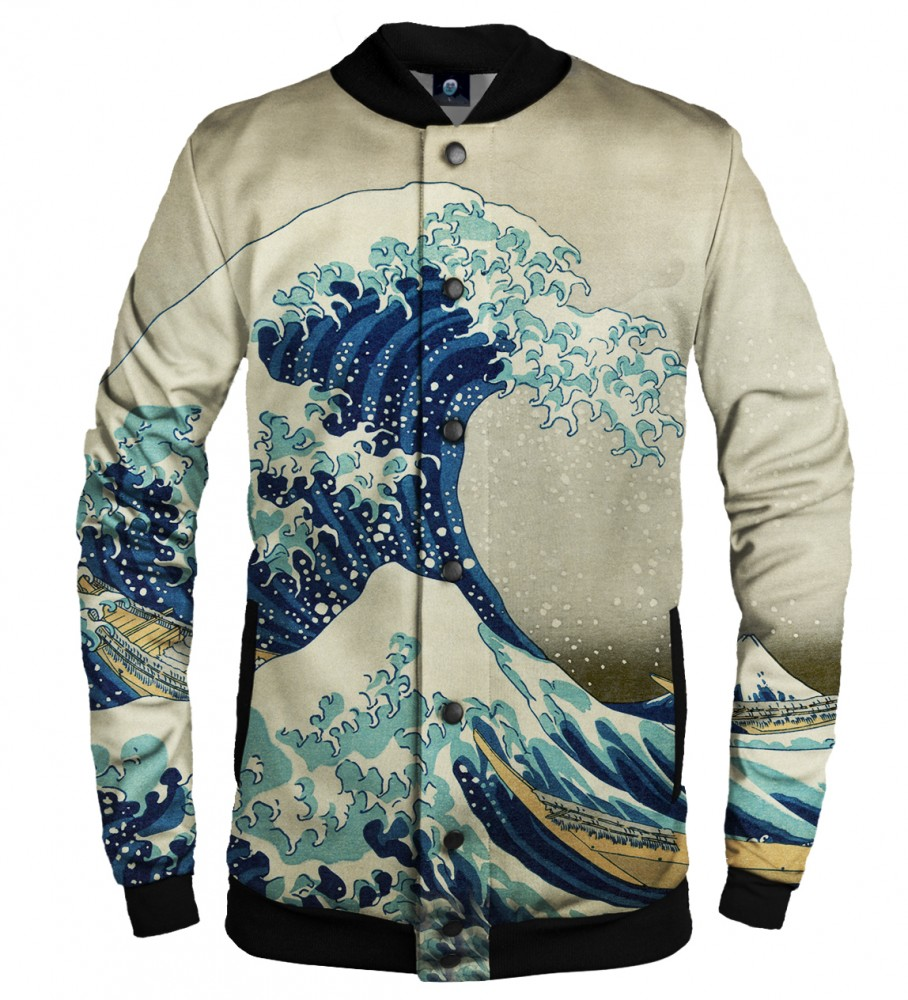 Aloha From Deer, GREAT WAVE BASEBALL JACKET Image $i