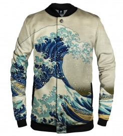 Aloha From Deer, GREAT WAVE BASEBALL JACKET Thumbnail $i