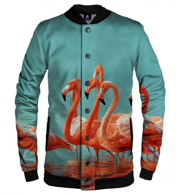 FLAMINGOS CAT BASEBALL JACKET Thumbnail 1
