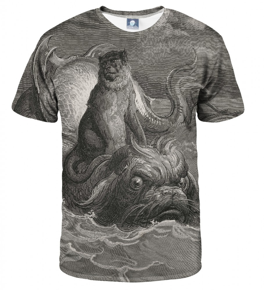 Aloha From Deer, Dore series - monkey on a dolphin T-SHIRT Image $i