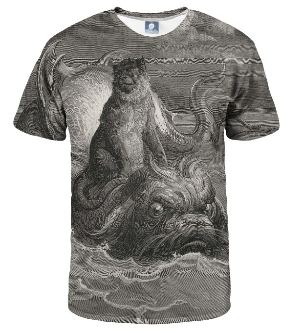 T-SHIRT Dore series - monkey on a dolphin Miniatury 1