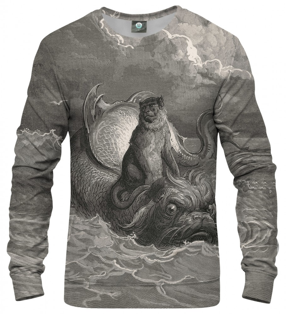 Aloha From Deer, Doré series - monkey on a dolphin SWEATER Image $i