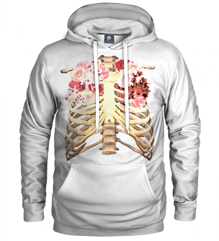 Aloha From Deer, WHITE SKELETON CHEST HOODIE Image $i