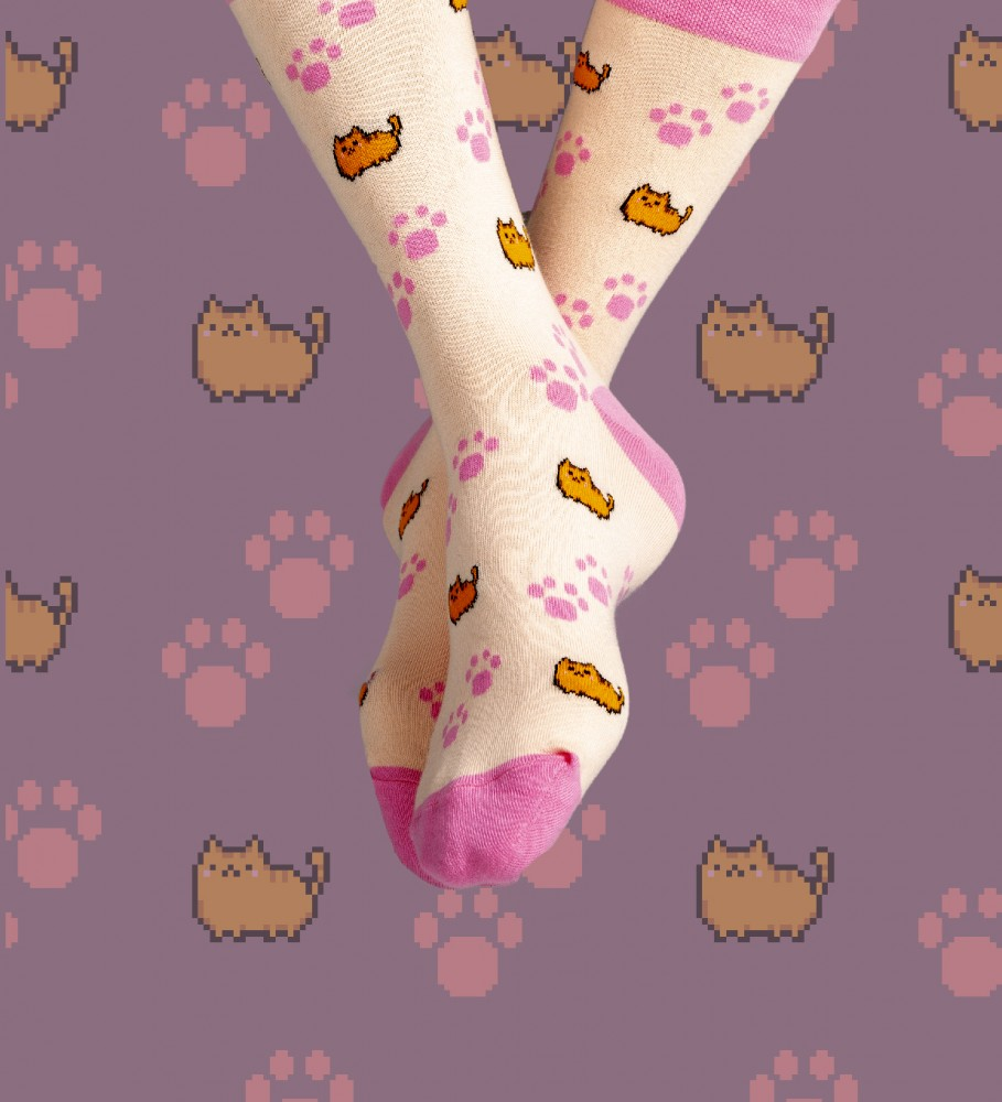 Aloha From Deer, Kitty Cat Cotton Socks Image $i
