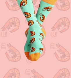 Aloha From Deer, Prawn Time Cotton Socks Thumbnail $i