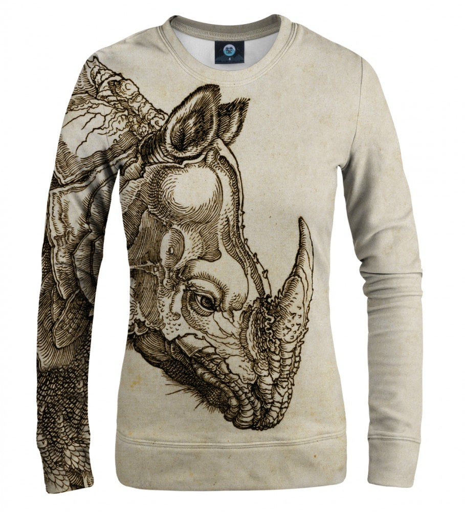 Aloha From Deer, DURER SERIES - RHINOCEROS WOMEN SWEATSHIRT Image $i