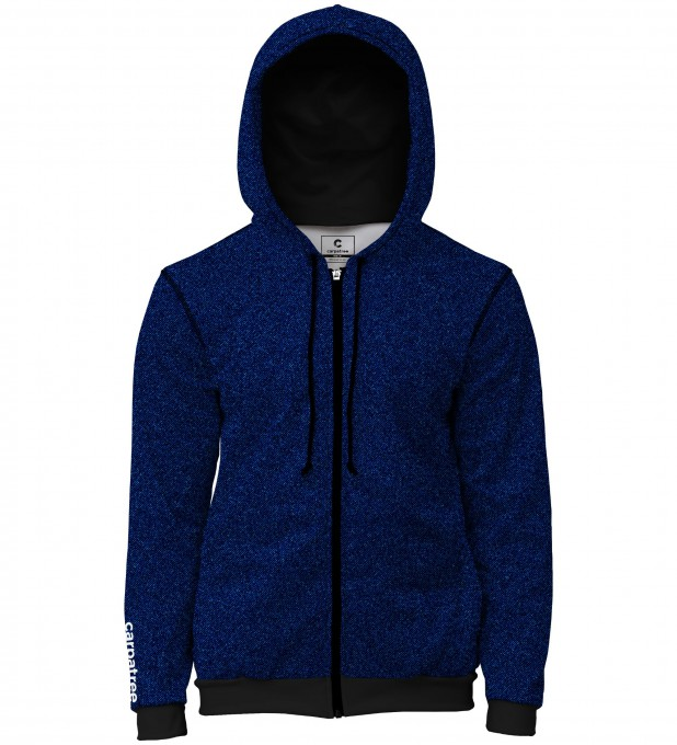 Blue denim men's casual hoodie Thumbnail 1