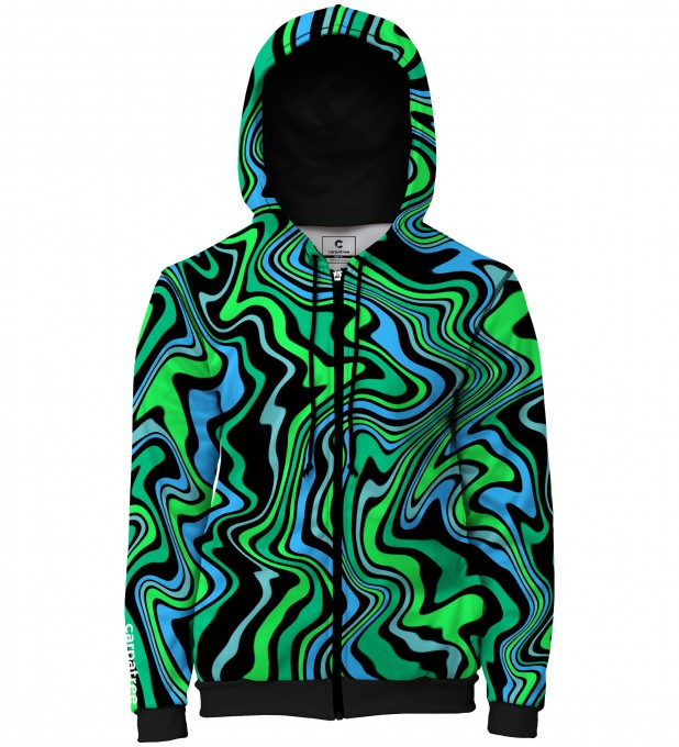 Green distortion men's casual hoodie Thumbnail 1