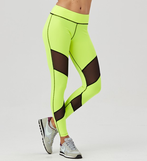 Fluo Green Double Mesh Leggings Thumbnail 2