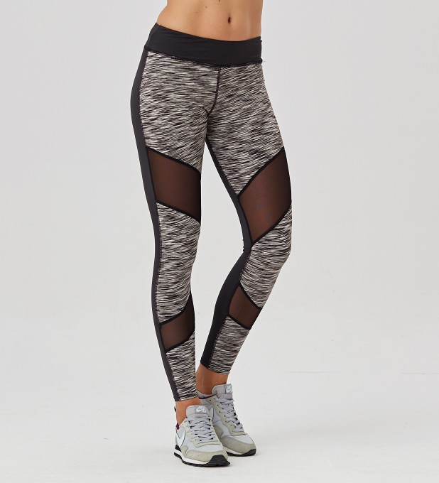 Twotone Grey Melange Double Mesh leggings Thumbnail 1