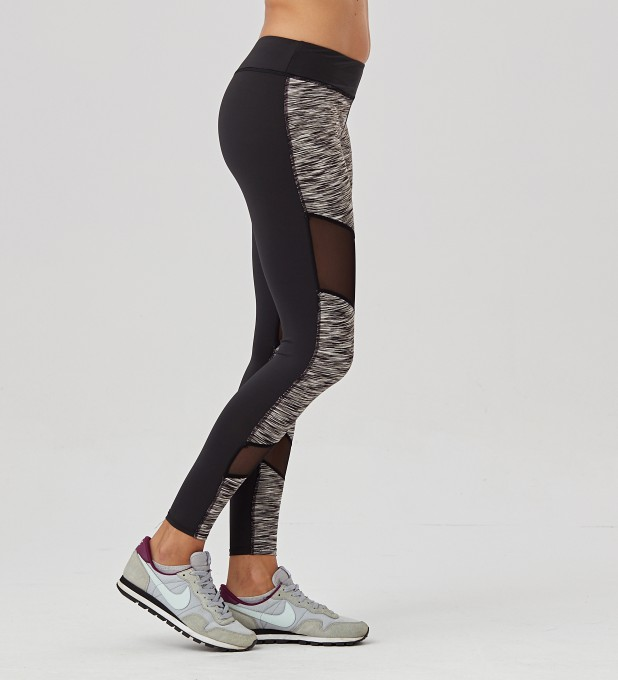 Twotone Grey Melange Double Mesh leggings Thumbnail 2