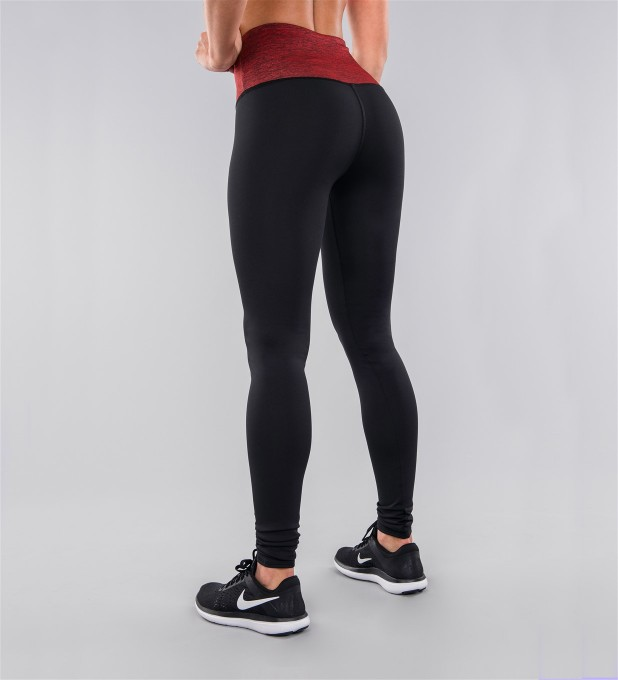 Black Classic & Crimson Belt Highwaist Leggings Thumbnail 2