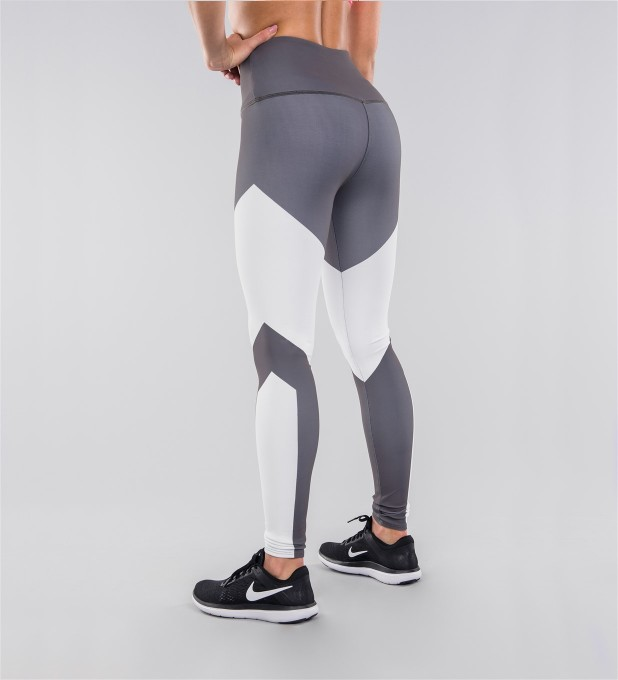 Grey & White Highwaist Leggings Thumbnail 2