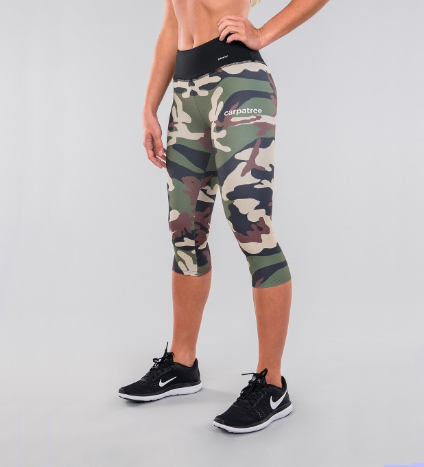 Army Camo & Black Belt Capri Leggings Thumbnail 1