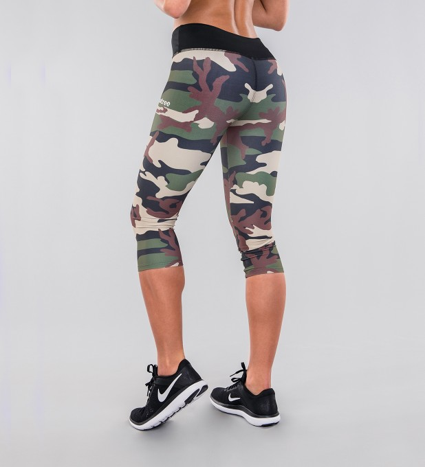 Army Camo & Black Belt Capri Leggings Thumbnail 2