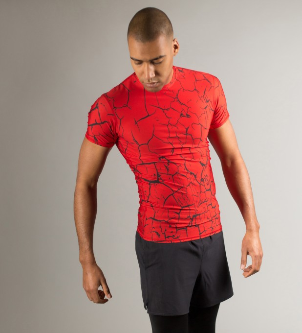 Red Cracks Shortsleeve Rashguard Thumbnail 1