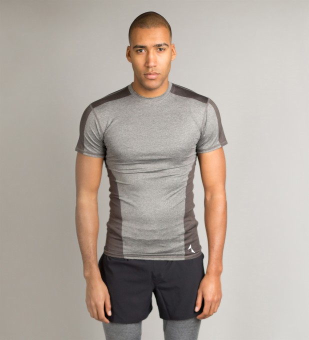 Grey Shaded Shortsleeve Rashguard Thumbnail 1