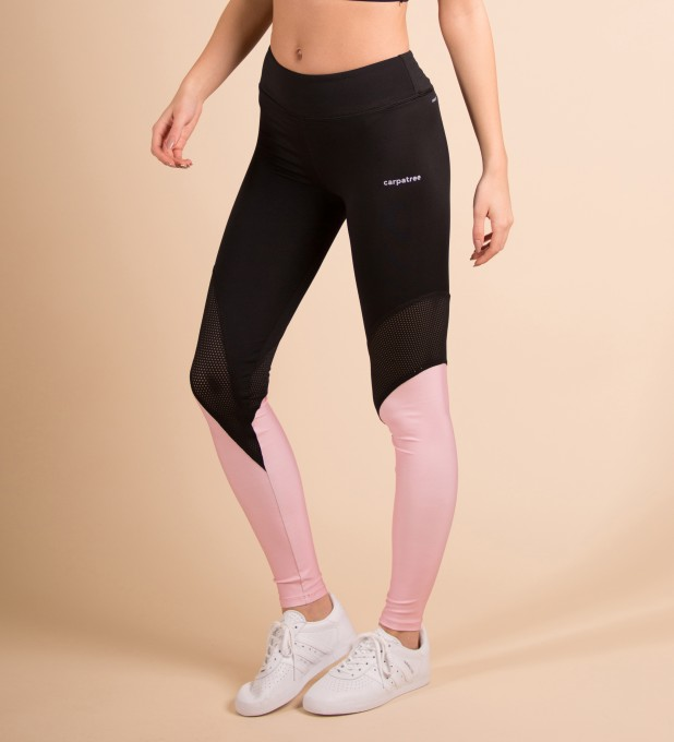 Black & Pink Performesh Leggings Thumbnail 1