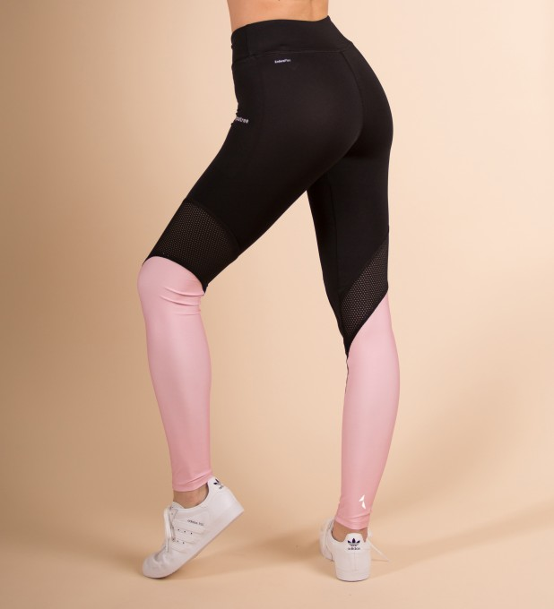 Black & Pink Performesh Leggings Thumbnail 2