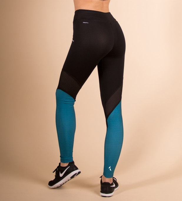 Black & Turquoise Performesh leggings Thumbnail 2