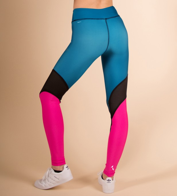 Pink & Turquoise Performesh Leggings Thumbnail 2