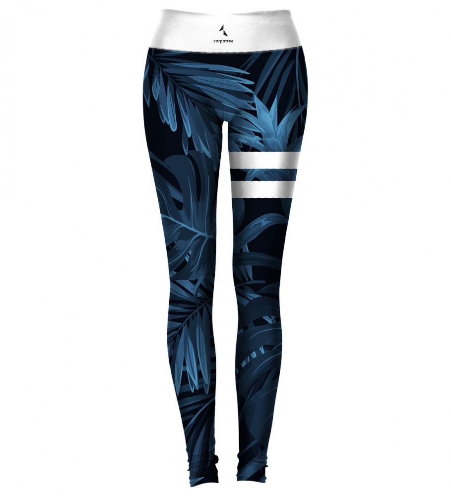 Carpatree, Navy Tropical Classic Leggings Image $i