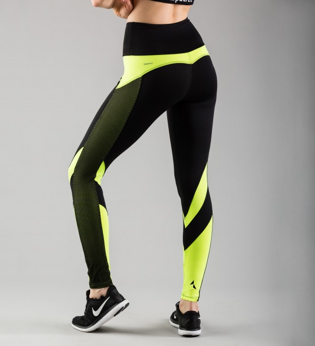 Fluo Green Mesh Pocket Leggings Thumbnail 2