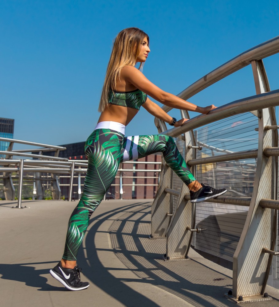 Carpatree, Green Tropical Classic Leggings Image $i