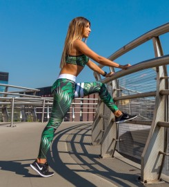 Carpatree, Green Tropical Classic Leggings Thumbnail $i