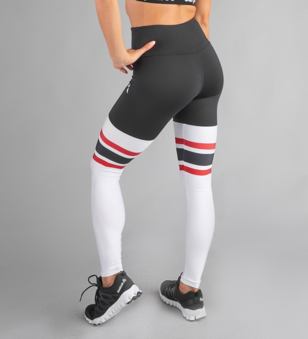 Black & Red High Socks Highwaist Leggings Thumbnail 2