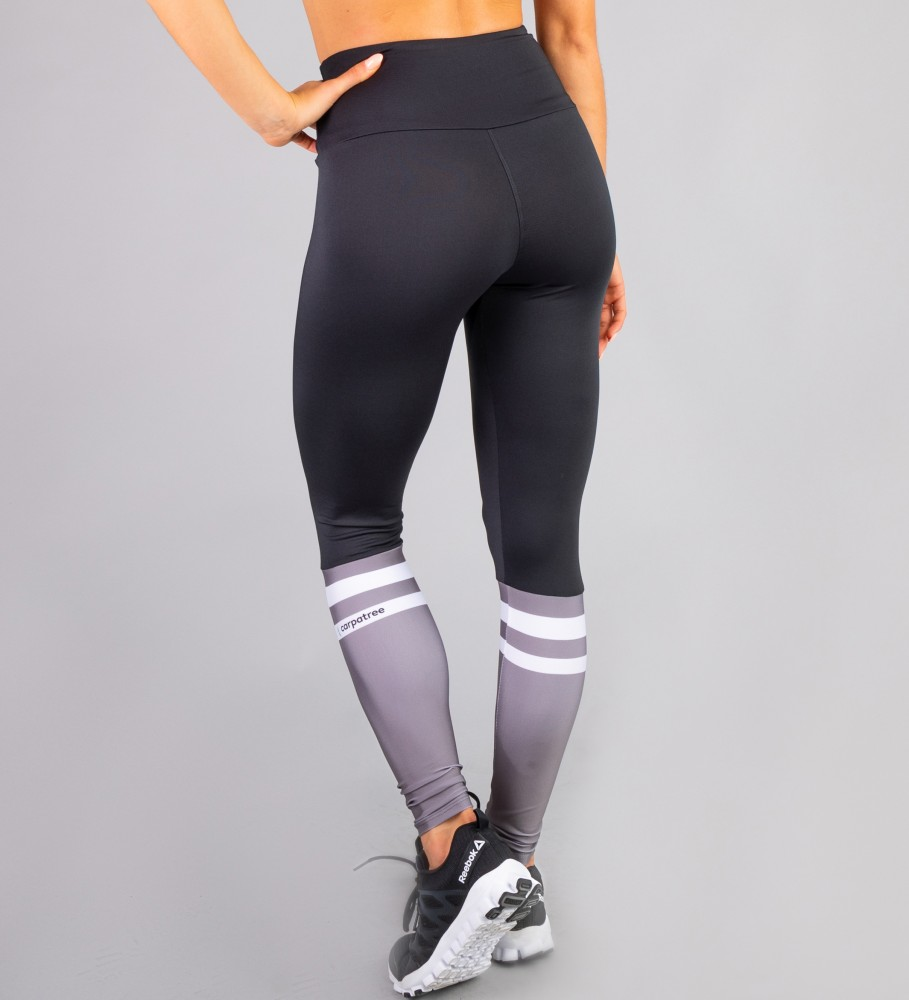 Carpatree, Black & Grey Socks Highwaist Leggings Image $i