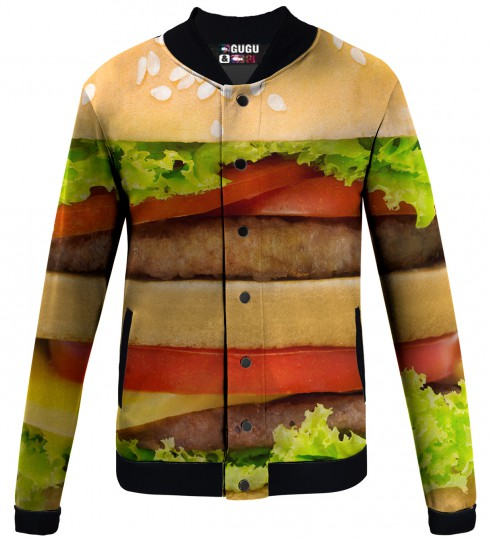 hamburger baseball jacket Miniature 1