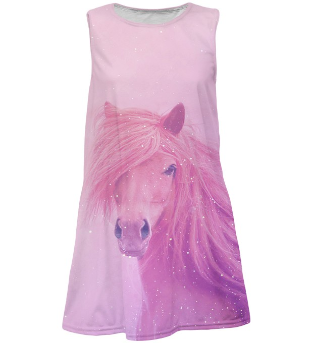 Pink horse summer dress for kids Miniature 1