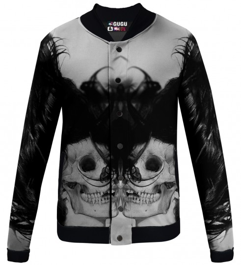 black skull girl net baseball jacket Miniature 1