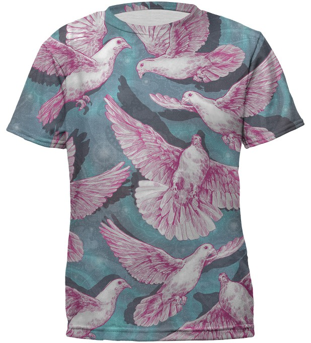 Pink doves t-shirt for kids Miniatura 1