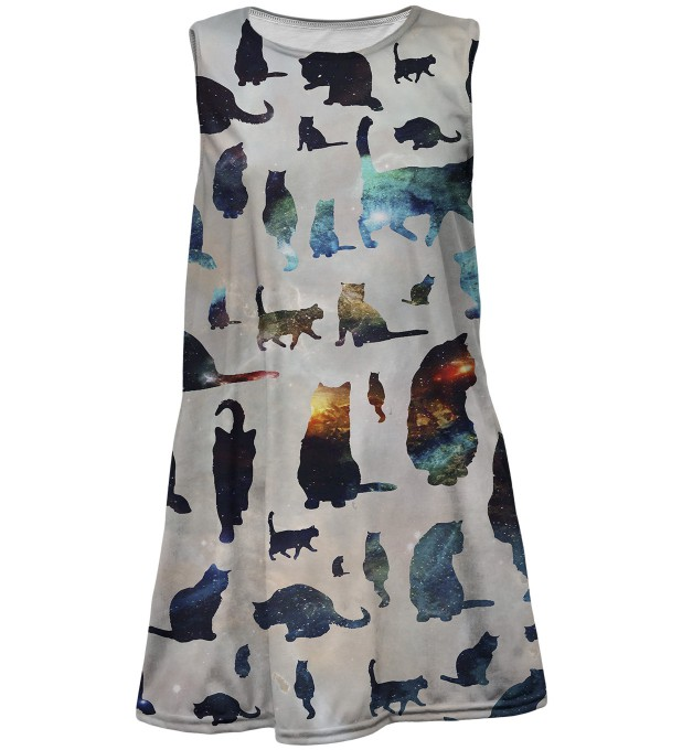 Galaxy cats summer dress for kids Thumbnail 1