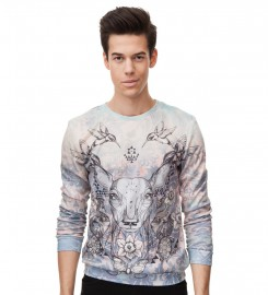 Mr. Gugu & Miss Go, Deer Colage sweater Thumbnail $i