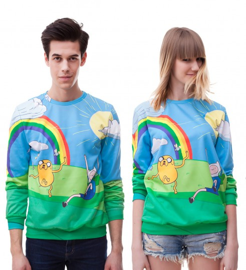 Rainbow Finn & Jake sweater Thumbnail 2