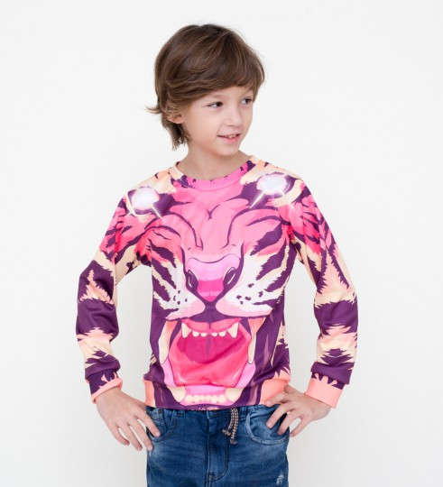 Comic tiger sweater for kids Miniature 1