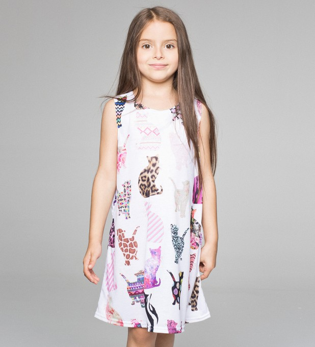 Comic cat pattern summer dress for kids Thumbnail 1