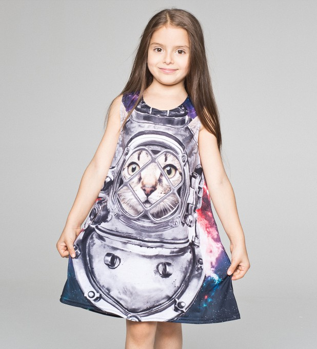 Astronaut Cat summer dress for kids Thumbnail 1