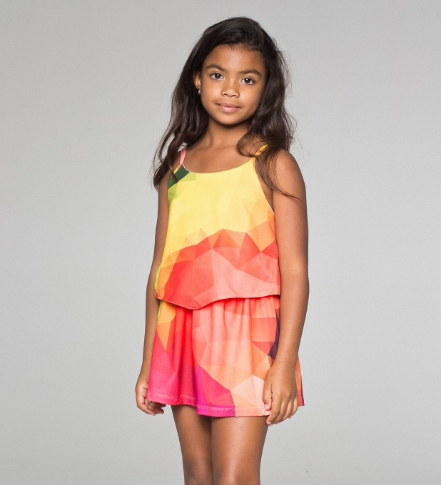 Colorful geometric pattern layered dress for kids Thumbnail 1