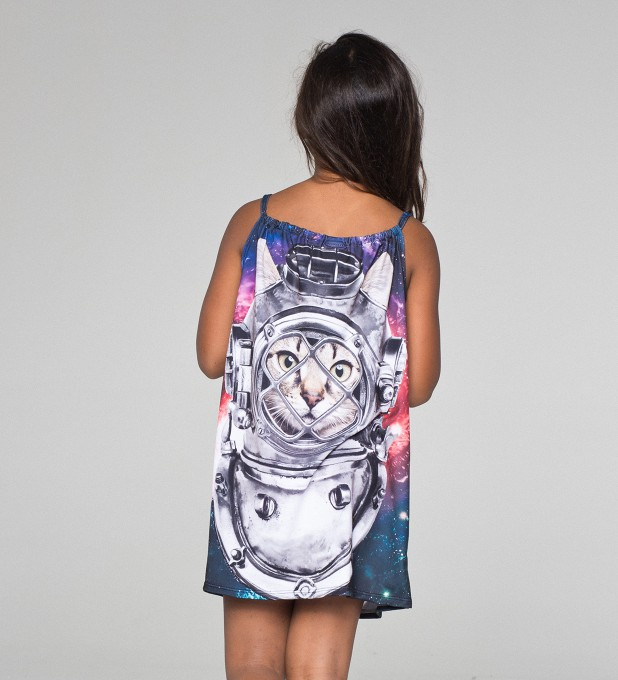 Astronaut Cat sleeveless dress for kids Thumbnail 2