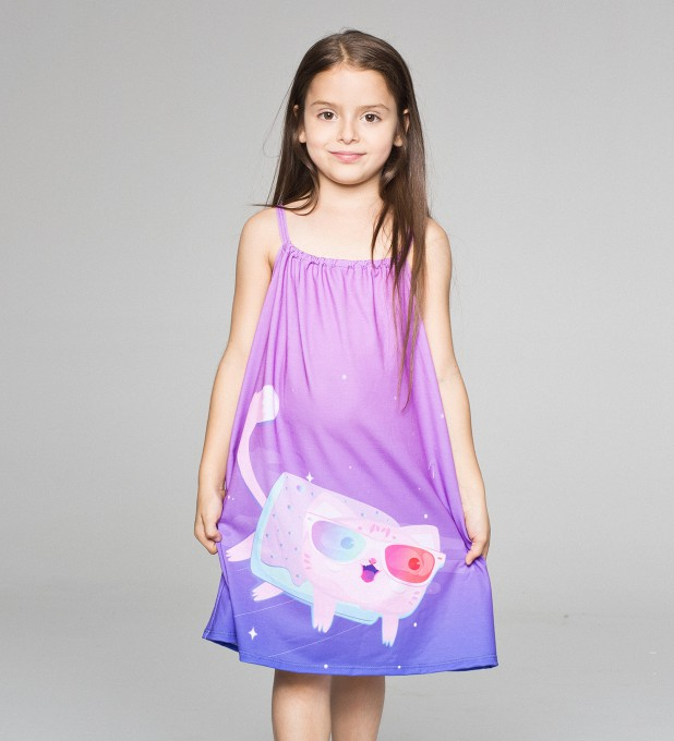 flying cat sleeveless dress for kids Thumbnail 1