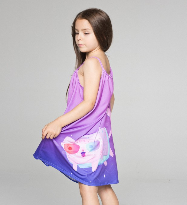 flying cat sleeveless dress for kids Thumbnail 2