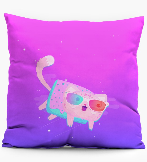 Flying Cat pillow Miniature 1