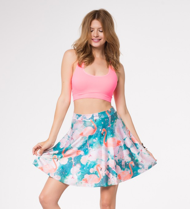 Flamingos skater skirt Miniature 1