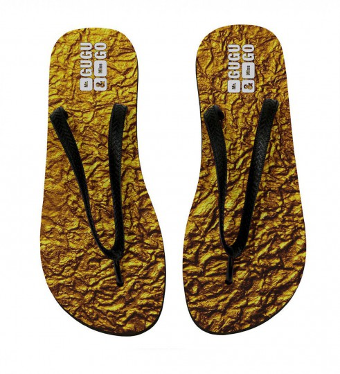 Gold flip flops Miniature 2